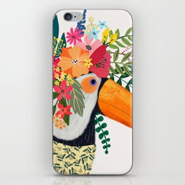 Toucan with flowers on head iPhone Skin