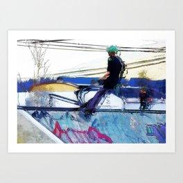 Hanging On  -  Stunt Scooter Artwork Art Print