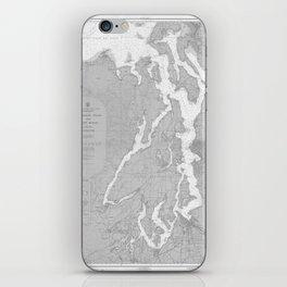 Puget Sound Washington State Nautical Chart Map Print 1956, Map Art Prints iPhone Skin