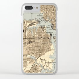 Vintage Norfolk & Portsmouth Virginia Map (1944) Clear iPhone Case