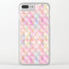Pastel Iridescent Mermaid Scales Pattern Clear iPhone Case