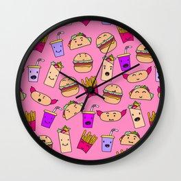 Kawaii Fast Food Burger Fries Taco Pattern Pink Wall Clock