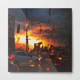 Traffic Jam in the winter. Rain is dropping on my car. At sunset. Metal Print