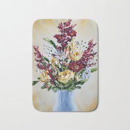 Autumn Floral Bouquet, Mustard Flowers in White Vase Bath Mat