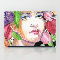 headdress iPad Cases featuring Tulip Headdress by Thea Maia