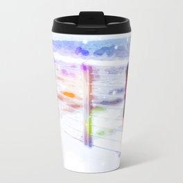 standing alone at the beach with summer bokeh light Travel Mug