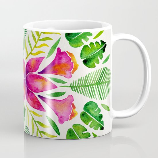 Tropical Symmetry – Pink & Green by catcoq
