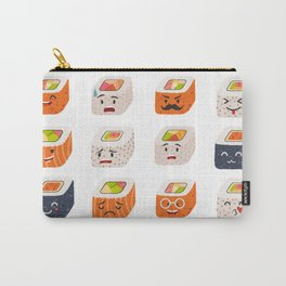 Sushi and sashimi emoji vector set. Emoji sushi with faces icons Carry-All Pouch