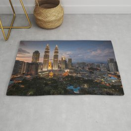 Petronas Towers By Night Rug