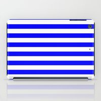 stripes iPad Cases featuring Horizontal Stripes (Blue/White) by 10813 Apparel
