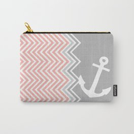 Coral Nautical Chevron  Carry-All Pouch