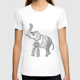 Elephant Drawing in black and white, mehndi style. T-shirt