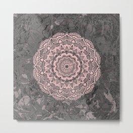Pink lace mandala on gray Marble Metal Print