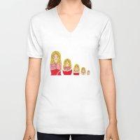 burlesque V-neck T-shirts featuring Blonde Burlesque stripper doll by Yana Elkassova