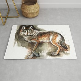 Totem Mexican Wolf ( Watercolor ) Rug