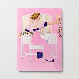 "Coles Phillips 'Fadeaway Girl' Illustration ""The Yellow Rose"" Metal Print"