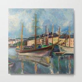 Le port du Havre, France nautical landscape painting by Raoul Dufy Metal Print