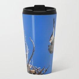 An Osprey Flies Out Of The Nest Travel Mug