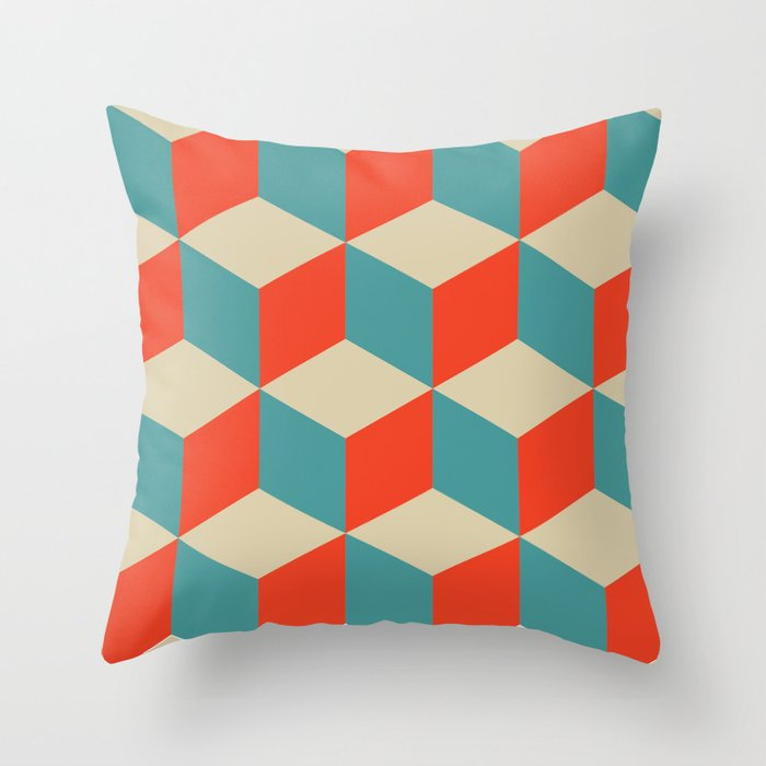 Cube Pattern Blue Orange Cream Throw Pillow By Karenchelsea
