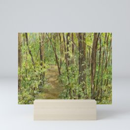 Wooded Path Watercolor Landscape Detailed Realism Mini Art Print
