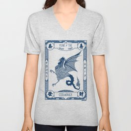 Year of the Cockatrice (Porcelain) Unisex V-Neck