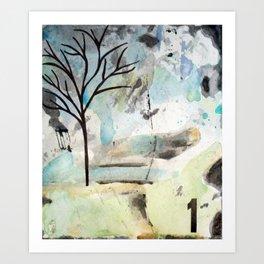 Watercolor Landscape - Tree 1 Art Print