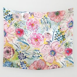 Watercolor hand paint floral design Wall Tapestry
