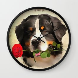 Saint Bernards Happy Valentines Day. (Painting.) Wall Clock