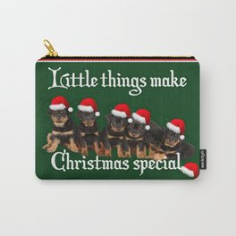Little Things Make Christmas Special Rottweiler Greetings  Carry-All Pouch
