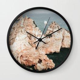 Rocky coastline of Ponta da Piedade, Portugal Wall Clock