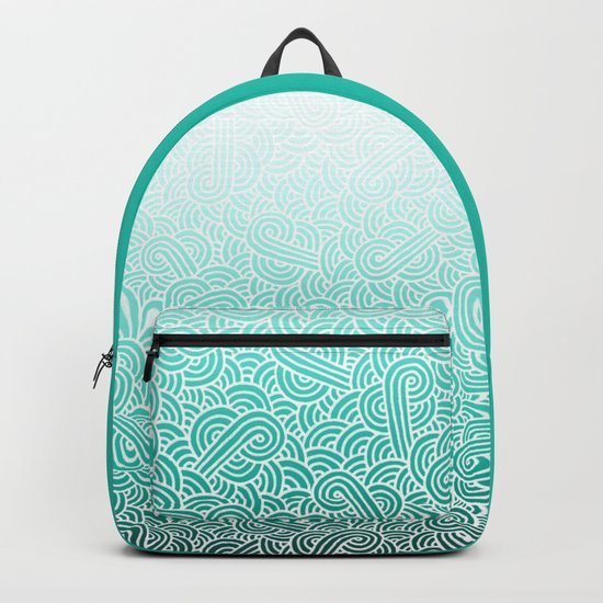 Ombre turquoise blue and white swirls doodles Backpack