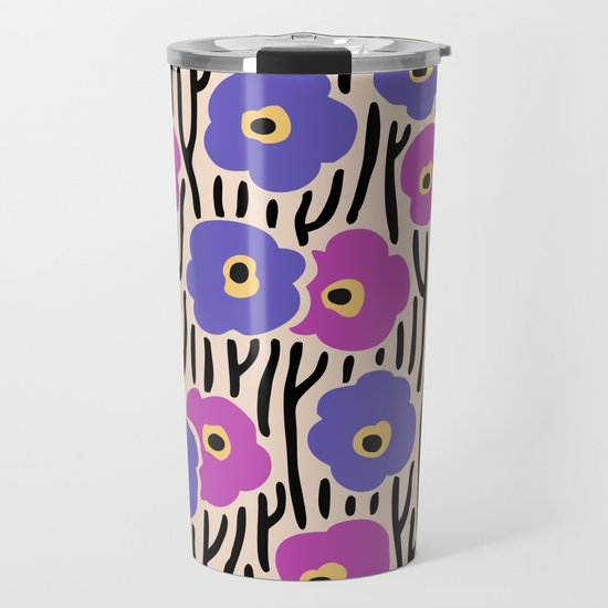 Mid Century Modern Wild Flowers Pattern Pink and Purple by tonymagner