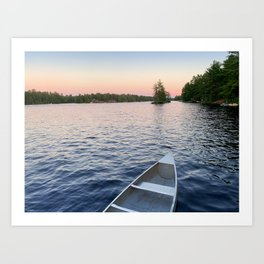 Sunset with Canoe on the Lake Art Print