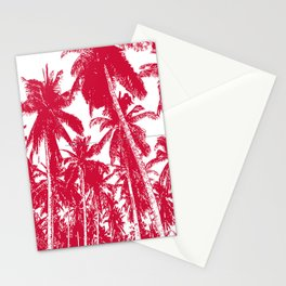 Palm Trees Design in Red and White Stationery Cards