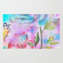 floral alcohol ink painting Rug