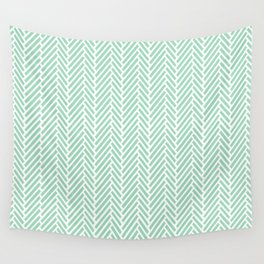 Herringbone Mint Inverse Wall Tapestry