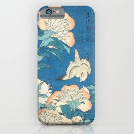 Japanese Flowers Turquoise Peach iPhone Case