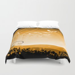 Dark Forest at Dawn in Amber Duvet Cover