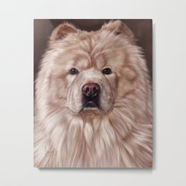Cream Chow Chow Painting Portrait Metal Print
