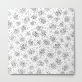 Full Bloom - Floral Print in Black and White Metal Print