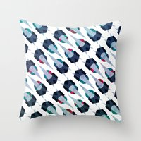 arya Throw Pillows featuring Graphic Pattern - Geometric, Spacey, Angled by Hinal Arya