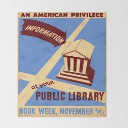 Vintage poster - Book Week Throw Blanket