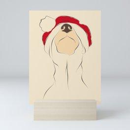 Christmas time, red hat, santa hat, dog Mini Art Print