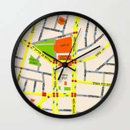 Tel Aviv map design - written in Hebrew Wall Clock