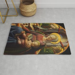 """Fra Filippo Lippi """"Madonna and Child Enthroned with Two Angels"""" Rug"""
