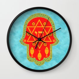 Hamsa for blessings and protection - turquoise red Wall Clock