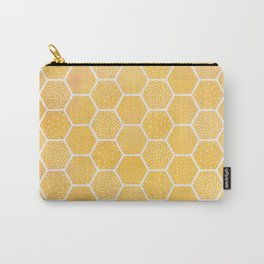 Yellow Honeycomb Pattern Carry-All Pouch