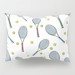 Tennis pattern. Hand-drawn colored sketch style tennis racquet with yellow tennis balls on white bac Pillow Sham