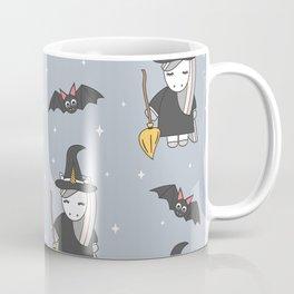 cute cartoon unicorn witch with broom and bats halloween pattern Coffee Mug