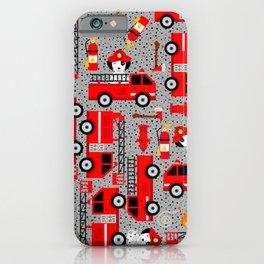 Kids Firetruck Dalmatian Dog Firefighter Pattern Gray iPhone Case